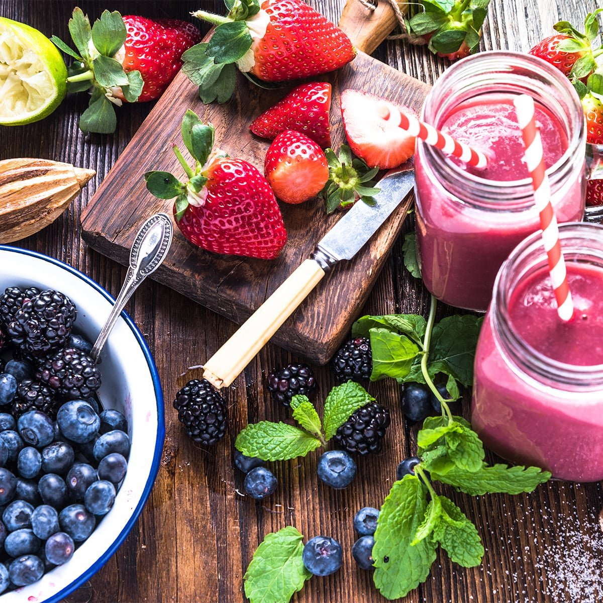 Healthy smoothies and fruit